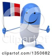 Clipart Of A 3d Happy Blue And White Pill Character Holding A French Flag And Giving A Thumb Up Royalty Free Illustration