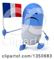 Clipart Of A 3d Unhappy Blue And White Pill Character Holding A French Flag And Walking Royalty Free Illustration
