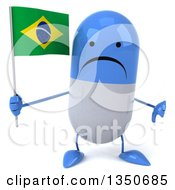 Clipart Of A 3d Unhappy Blue And White Pill Character Holding A Brazilian Flag And Giving A Thumb Down Royalty Free Illustration