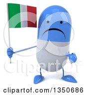 Clipart Of A 3d Unhappy Blue And White Pill Character Holding And Pointing To An Italian Flag Royalty Free Illustration