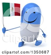 Clipart Of A 3d Happy Blue And White Pill Character Holding A Mexican Flag And Walking Royalty Free Illustration