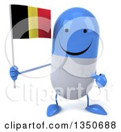 Clipart Of A 3d Happy Blue And White Pill Character Holding And Pointing To A Belgian Flag Royalty Free Illustration