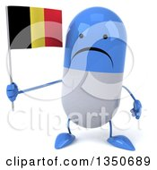 Clipart Of A 3d Unhappy Blue And White Pill Character Holding A Belgian Flag Royalty Free Illustration