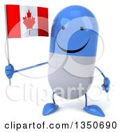 Clipart Of A 3d Happy Blue And White Pill Character Holding A Canadian Flag Royalty Free Illustration