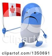 Clipart Of A 3d Unhappy Blue And White Pill Character Holding A Canadian Flag And Walking Royalty Free Illustration