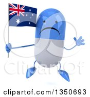 Clipart Of A 3d Unhappy Blue And White Pill Character Holding An Australian Flag And Jumping Royalty Free Illustration