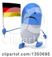 Clipart Of A 3d Unhappy Blue And White Pill Character Holding A German Flag And Walking Royalty Free Illustration