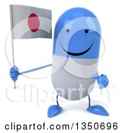 Clipart Of A 3d Happy Blue And White Pill Character Holding And Pointing To A Japanese Flag Royalty Free Illustration