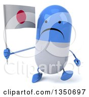 Clipart Of A 3d Unhappy Blue And White Pill Character Holding A Japanese Flag And Walking Royalty Free Illustration
