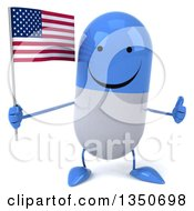 Clipart Of A 3d Happy Blue And White Pill Character Holding An American Flag And Giving A Thumb Up Royalty Free Illustration by Julos