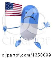 Clipart Of A 3d Unhappy Blue And White Pill Character Holding An American Flag And Jumping Royalty Free Illustration by Julos