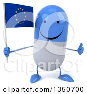 Clipart Of A 3d Happy Blue And White Pill Character Holding A European Flag And Giving A Thumb Up Royalty Free Illustration by Julos