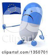 Clipart Of A 3d Unhappy Blue And White Pill Character Holding A European Flag And Walking Royalty Free Illustration by Julos