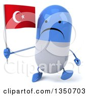 Clipart Of A 3d Unhappy Blue And White Pill Character Holding A Turkish Flag And Walking Royalty Free Illustration