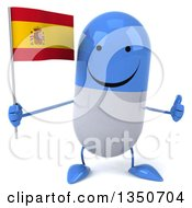 Clipart Of A 3d Happy Blue And White Pill Character Holding A Spanish Flag And Giving A Thumb Up Royalty Free Illustration