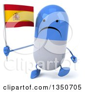 Clipart Of A 3d Unhappy Blue And White Pill Character Holding A Spanish Flag And Walking Royalty Free Illustration