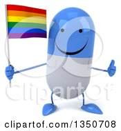 Clipart Of A 3d Happy Blue And White Pill Character Holding A Rainbow Flag And Giving A Thumb Up Royalty Free Illustration