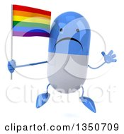 Clipart Of A 3d Unhappy Blue And White Pill Character Holding A Rainbow Flag And Jumping Royalty Free Illustration