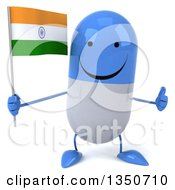 Clipart Of A 3d Happy Blue And White Pill Character Holding An Indian Flag And Giving A Thumb Up Royalty Free Illustration