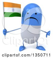 Clipart Of A 3d Unhappy Blue And White Pill Character Holding An Indian Flag And Giving A Thumb Down Royalty Free Illustration