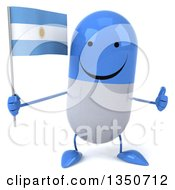 Clipart Of A 3d Happy Blue And White Pill Character Holding An Argentine Flag And Giving A Thumb Up Royalty Free Illustration by Julos