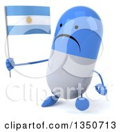 Clipart Of A 3d Unhappy Blue And White Pill Character Holding An Argentine Flag And Walking Royalty Free Illustration by Julos
