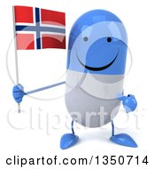 Clipart Of A 3d Happy Blue And White Pill Character Holding And Pointing To A Norwegian Flag Royalty Free Illustration by Julos