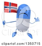 Clipart Of A 3d Unhappy Blue And White Pill Character Holding A Norwegian Flag And Jumping Royalty Free Illustration by Julos