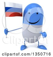 Clipart Of A 3d Happy Blue And White Pill Character Holding And Pointing To A Russian Flag Royalty Free Illustration