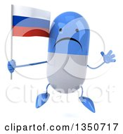 Clipart Of A 3d Unhappy Blue And White Pill Character Holding A Russian Flag And Jumping Royalty Free Illustration