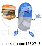 Clipart Of A 3d Unhappy Blue And White Pill Character Holding A Double Cheeseburger And Jumping Royalty Free Illustration by Julos
