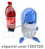 Clipart Of A 3d Happy Blue And White Pill Character Holding Up A Soda Bottle Royalty Free Illustration by Julos