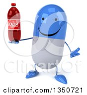 Clipart Of A 3d Happy Blue And White Pill Character Holding A Soda Bottle And Shrugging Royalty Free Illustration