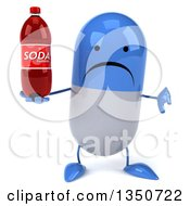 Clipart Of A 3d Unhappy Blue And White Pill Character Giving A Thumb Down And Holding A Soda Bottle Royalty Free Illustration by Julos