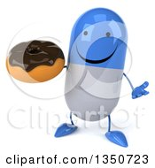 Clipart Of A 3d Happy Blue And White Pill Character Holding A Chocolate Glazed Donut And Shrugging Royalty Free Illustration