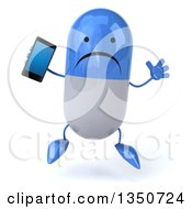 Clipart Of A 3d Unhappy Blue And White Pill Character Holding A Smart Phone And Jumping Royalty Free Illustration by Julos