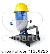 Clipart Of A 3d Unhappy Blue And White Pill Contractor Character Facing Right And Running On A Treadmill Royalty Free Illustration by Julos