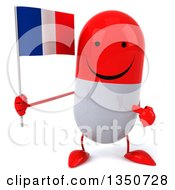 Clipart Of A 3d Happy Red And White Pill Character Holding And Pointing To A French Flag Royalty Free Illustration
