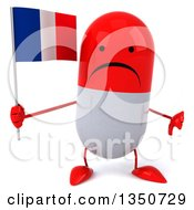 Clipart Of A 3d Unhappy Red And White Pill Character Holding A French Flag And Giving A Thumb Down Royalty Free Illustration by Julos
