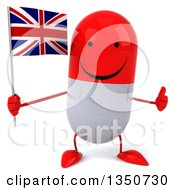 Clipart Of A 3d Happy Red And White Pill Character Holding A British Union Jack Flag And Giving A Thumb Up Royalty Free Illustration by Julos