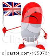 Clipart Of A 3d Unhappy Red And White Pill Character Holding A British Union Jack Flag Royalty Free Illustration