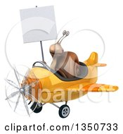 Clipart Of A 3d Snail Aviator Pilot Holding A Blank Sign And Flying A Yellow Airplane To The Left Royalty Free Illustration
