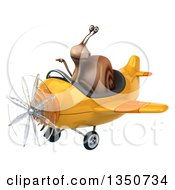 Clipart Of A 3d Snail Aviator Pilot Pointing And Flying A Yellow Airplane To The Left Royalty Free Illustration