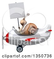 Clipart Of A 3d Snail Aviator Pilot Holding A Blank Sign And Flying A White And Red Airplane To The Left Royalty Free Illustration