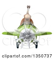 Clipart Of A 3d Snail Aviator Pilot Flying A Green Airplane Royalty Free Illustration