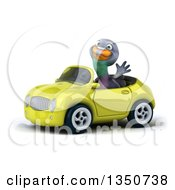Clipart Of A 3d Pigeon Waving And Driving A Light Green Convertible Car To The Left Royalty Free Illustration by Julos