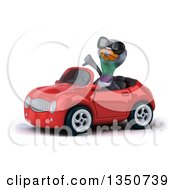 Clipart Of A 3d Pigeon Wearing Sunglasses Giving A Thumb Down And Driving A Red Convertible Car To The Left Royalty Free Illustration by Julos