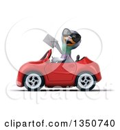 Clipart Of A 3d Pigeon Wearing Sunglasses Holding An Envelope And Driving A Red Convertible Car To The Left Royalty Free Illustration