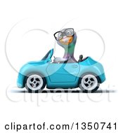 Clipart Of A 3d Bespectacled Pigeon Driving A Blue Convertible Car To The Left Royalty Free Illustration by Julos