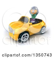 Clipart Of A 3d Pigeon Driving A Yellow Convertible Car To The Left Royalty Free Illustration by Julos